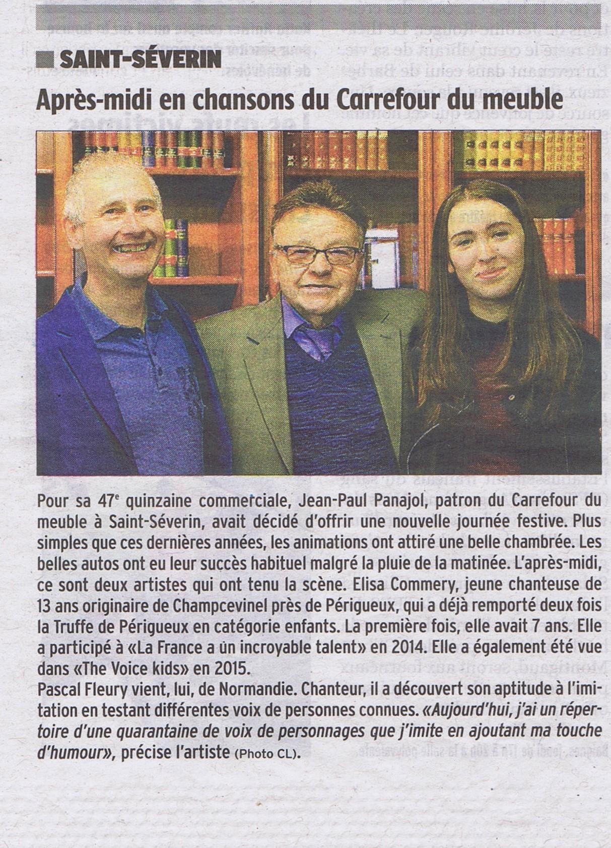 Pascal Fleury au carrefour du meuble St Severin 29 mars 2016 (Charente)