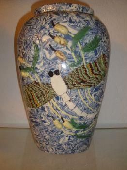 vase jaspé bleu libellule